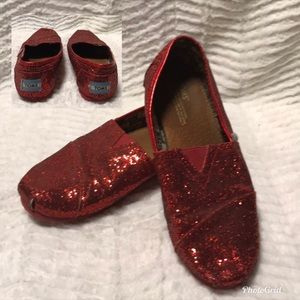 Toms Red Glitter Shoes